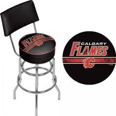 Calgary Flames NHL Swivel Bar Stool with Back Officially Licensed Art 360 Swivel #TrademarkGameroom