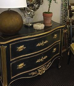 luxury furniture - carved black-and-gold Venetian style chest - Hand-painted Neoclassic style demilune chest with three curved doors. Neoclassic chest has antiqued gold-leaf trim, brass hardware, black Saint Laurent marble top; hand-made in Italy; available at InvitingHome.com Luxury Furniture, Antique Furniture, Furniture Decor, Painted Furniture, Dresser Ideas, Dresser As Nightstand, Dressers, Restored Dresser, Wood Drawer Pulls