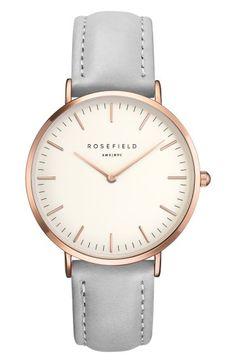 ROSEFIELD BOWERY LEATHER STRAP WATCH, 38MM. #rosefield #