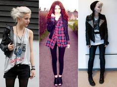 """MODA PUNK  A moda punk teve suas evoluções de acordo com o tempo, teve suas saidas para o """"punk de boutique"""" mas sempre é lembrada, agora com as tachas, mais cedo com as meias rasgadas, sempre com algum item, seja na roupa ou no cabelo, o mais legal de ver é que a moda punk esta sempre ativa."""