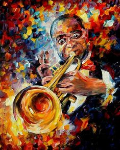 Music Poster featuring the painting Louis Armstrong by Leonid Afremov