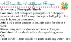 Strawberry Pineapple Shrub Recipe | A Domestic Wildflower click to get the recipe and the free recipe card!