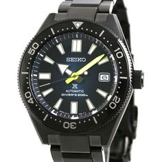 Seiko Automatic, Automatic Watch, Black Stainless Steel, Stainless Steel Bracelet, Sport Watches, Watches For Men, Indoor Cycling Bike, Chronograph, Seiko Watches
