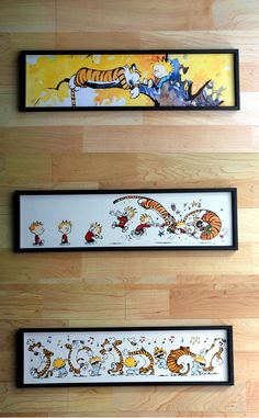 NURSERY  Calvin and Hobbes 3 Piece Framed Print Set by BabyRoomPrints
