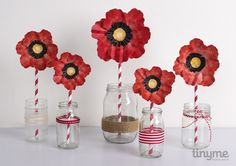ANZAC Day paper poppies