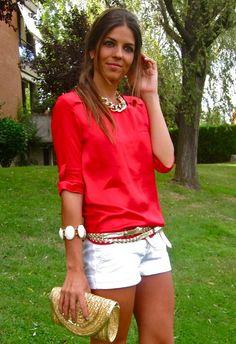 Red, White, Gold.  , Zara en Pantalones, Zara  en Camisas / Blusas
