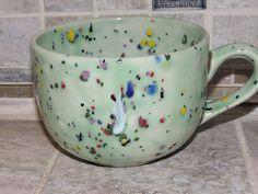 Coffee Mug. Large cappuccino Mug. Light Green. with multi- speckles. Food and…