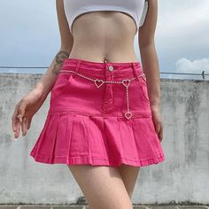 OCRE Pleated Mini A-Line Skirt | YesStyle Cheap Skirts, Cute Skirts, A Line Skirts, Mini Skirts, Pink Pleated Skirt, Denim Mini Skirt, Jean Skirt, Skirt Outfits, Girly Outfits