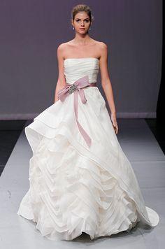 A white & purple ruffle wedding dress from Rivini