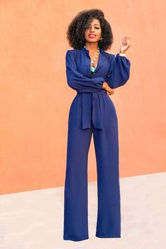 Style Pantry | Navy Bell Sleeve Wide Leg Jumpsuit
