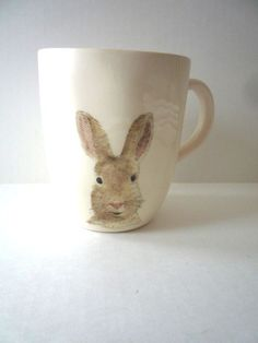 New Magenta Rae Dunn Happy EASTER  Bunny Rabbit Mug Cup