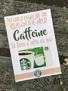Start your child's day off with a smile when you send them a funny Starbucks Coffee Gift card attached to this Free Printable greeting card. Perfect gift for teacher appreciation or just because. #starbucksgiftcardholder #teacherappreciation #teachergift
