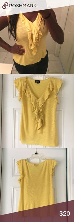 💃🏾SALE💃🏾🎉HP🎉Cute Yellow Top with Lace Design This cute yellow top is perfect for an everyday wear! It comes in a size medium and is 100% rayon and there is some lace on the front of the top and that is made out of 100% nylon. This top is still in good condition. Let me know if you're interested! Iz Byer Tops Blouses