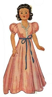 McCall 1089 Doll Clothes Pattern for Little Lady dolls. For and 18 inch doll. A 1940s pattern.