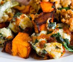 ROASTED BUTTERNUT SQUASH WITH CARAMELIZED ONIONS