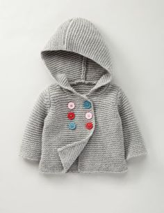 This simple knit baby jacket is perfect for keeping little ones warm during winter. Have fun personalizing the design by using handmade buttons.