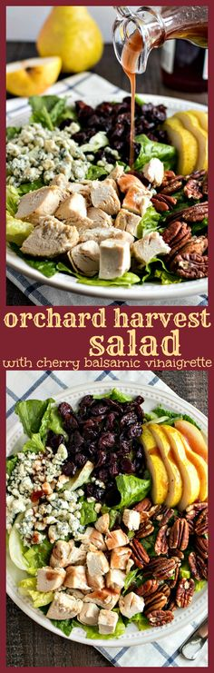 Orchard Harvest Salad (Panera Copycat) – Chopped romaine lettuce tossed with sliced pears, dried cherries, pecans, gorgonzola cheese, diced chicken and homemade cherry balsamic vinaigrette. Copycat recipe of the seasonal Orchard Harvest salad from Panera Bread.