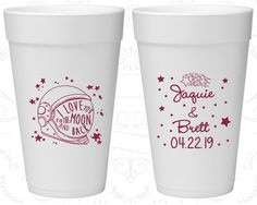 Love you to the moon and back, Customized Foam Cups, Space Helmet, Moon Wedding Favors, Styrofoam Cups (263)