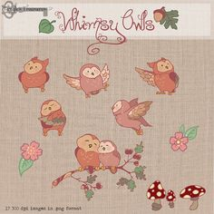 Whimsy Owls   digital clipart printable by TanglesTreasures, $5.50