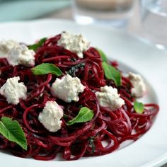 Beetroot Ribbon Salad with Mint & Cashew Cheese. Entirely vegan and raw!