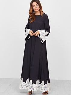 Cheap tent dress, Buy Quality casual maxi dress directly from China maxi dress Suppliers: SHEIN 2017 Casual Maxi Dress Spring Women's Navy Contrast Embroidered Lace Trim Tent Dress Long Sleeve Vintage Loose Dress Mode Abaya, Mode Hijab, Indian Designer Outfits, Designer Dresses, Abaya Fashion, Fashion Dresses, Hijab Evening Dress, Abaya Designs, Muslim Dress