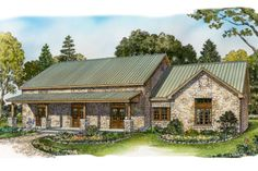 Ranch Style House Plan - 3 Beds 2 Baths 2136 Sq/Ft Plan #140-153 Front Elevation - Houseplans.com