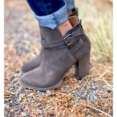Zip It Bootie by Chinese Laundry - Grey Obsessed. Grey Booties, Bootie Boots, Shoe Boots, Ankle Boots, Shoe Bag, Fall Fashion 2016, Autumn Fashion, Stilettos, Cute Heels