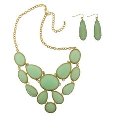 Women's 2 Piece Fashion Necklace and Earring Set - Green/Gold
