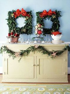 on sutton place Highlight the buffet table with two festive square wreaths. For more Christmas wall decor: http://www.bhg.com/christmas/indoor-decorating/quick-and-easy-holiday-wall-decor/?socsrc=bhgpin122413squarewr... http://s.bhome.us/NbW825Wd via bHome https://bhome.us