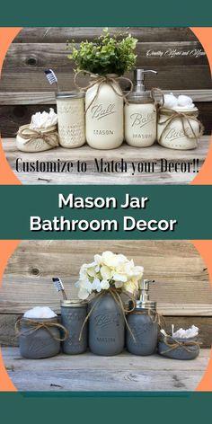 Custom mason jar bathroom decor. Holds all of your bathroom accessories and can be painted to match your decor! #bathroomdecor #masonjars #farmhouse #rusticdecor #etsy #affiliatelink