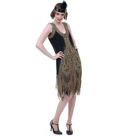Unique Vintage Black & Gold Embroidered Somerset Flapper Dress