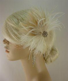 Wedding Bridal Fascinator, Bridal Fascinator, Feather Fascinator , Wedding Veil, Bridal Headpiece - The Couture Bride - Rhinestones. $65.00, via Etsy.