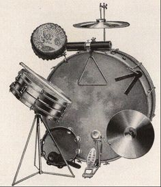 The earliest multi-percussion setups, presented and explored Vintage Drums, How To Play Drums, Jazz Musicians, Drum Kits, 1930s, Music Instruments, Drummers, Board, Repurposed