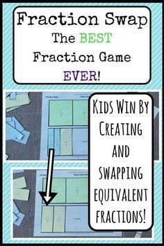 Have some fun this week, teachers! This math game builds important foundational understanding of fraction concepts . and it's fun for students! Students fear fractions less when they participate in hands-on activities that build their concrete underst Teaching Fractions, Math Fractions, Teaching Math, Equivalent Fractions, Teaching Ideas, Comparing Fractions, Dividing Fractions, Multiplication Games, Primary Teaching