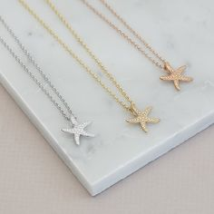 Starfish Necklace Gold Sterling Silver | Rose Gold | Gold Vermeil | Unique Jewellery | Nature Jewellery | Necklace Layering