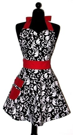 "The ORIGINAL AUNT JESSIE'S Vintage Black/White Parisian Fashionista Full Apron -- with a TWIST - $29.95.  Please note:  This particular ""listing"" may no longer be available but the link will take you to seller's store so you can view other options."