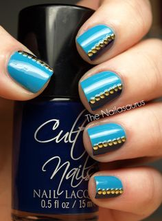 Have to do this and looking further into this blog, the studs are applied while the nails are still tacky and each stud is picked up with a toothpick or small brush with clear polish and then applied to the nail. Love it!!!