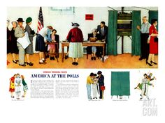 """""""Norman Rockwell Paints America at the Polls"""", November 4,1944 Giclee Print by Norman Rockwell at eu.art.com"""