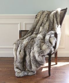 Christmas Gift Natural Chinchilla Faux Fur Sofa Couch Throw Blanket  60 X 70/""