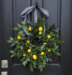 SUMMER WREATHS, Lemons Wreath, Yellow Lemons Wreath, Boxwood And Lemons,  Blueberries And Lemons, Summer Door Wreaths, Front Porch Wreaths