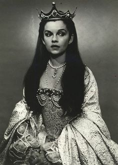 Janie played a beautiful dark haired princess on the stage at age 15. Her striking dark beauty was recognized by her drama teachers and she was taken out from the art workers to become a character in the play King Lear as Princess Cordelia.