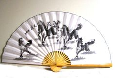 """64""""x35"""" Chinese Bamboo Folding Paper Wall Hanging Fan Eight Success Lucky Horses 
