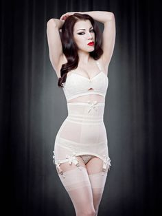 Vargas Longline Girdle in Ivory | Kiss Me Deadly