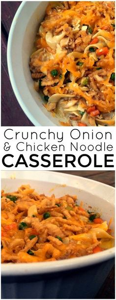 This Crunchy Onion & Chicken Noodle Casserole is one of our all time favorite casseroles!  The flavor is amazing and of course the french fried onions MAKE IT!  SO GOOD!