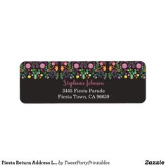 Fiesta Return Address Labels Floral Fiesta Custom Address Labels, Return Address Labels, Fiesta Party, Love Messages, Hand Sanitizer, How To Be Outgoing, Customized Gifts, Stationery, Floral