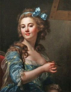 Marie-Gabrielle Capet (French artist, 1761-1818) Self Portrait 1783  The daughter of a servant Marie-Gabrielle Capet, who became a celebrated French portrait painter in oils, watercolors, & miniatures, was born at Lyons in 1761.. When her mentor, Labille-Guiard fell ill, Capet took care of her, until her teacher died in 1803. After the French Revolution, the public exhibitions of the Salons were opened to women; & Marie-Gabrielle Capet exhibited works several times.