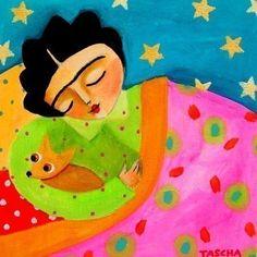 SLEEPY Frida and Chihuahua 6x6 folk art print of by tascha on Etsy