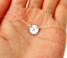,, ^ . . ^,, Handmade Jewelry Personalized Small Round Disc Necklace / Petite Initial Circle Pendant Necklace / Simple Minimal Flower Girl, 925 Sterling Silver, 14K Rose Gold fill or 14K Gold fill
