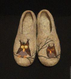 """Обувь ручной работы. тапочки валяные """"Совушки"""". Innawool. Интернет-магазин Ярмарка Мастеров. Валяные тапочки, обувь домашняя"""