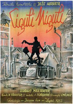 """Plakat za film Branka Marjanovića """"Ciguli Miguli"""", 1952."""